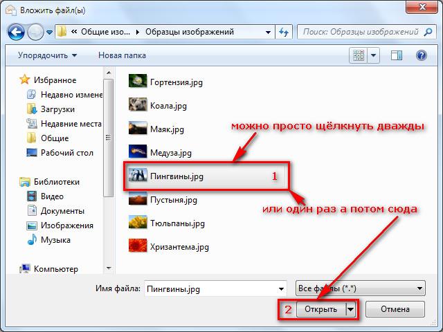 Бесплатная программа Мазила Тандерберд - выбор файла