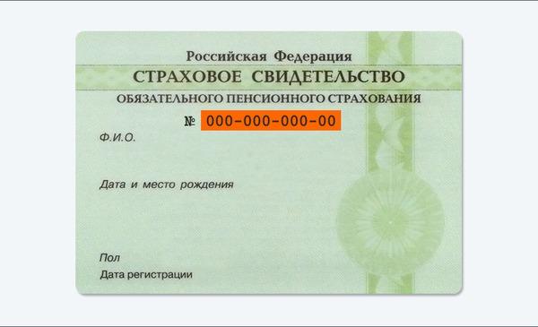 СНИЛС для регистрации на сайте госуслуг.