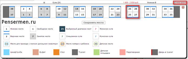 РЖД официальный сайт личный кабинет - схема вагона