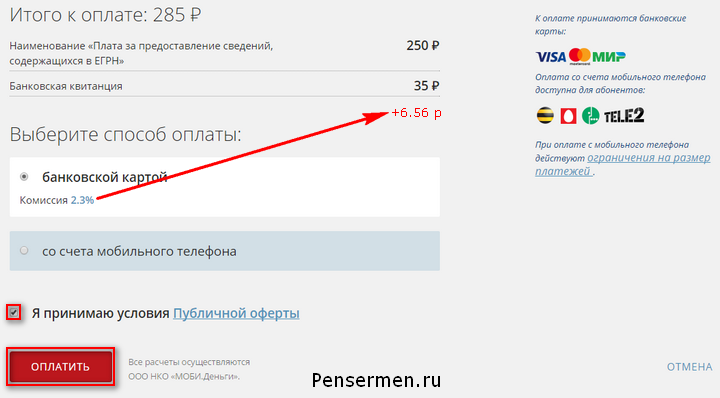 Сумма на выписку онлайн ОГРН за получение из росреестра