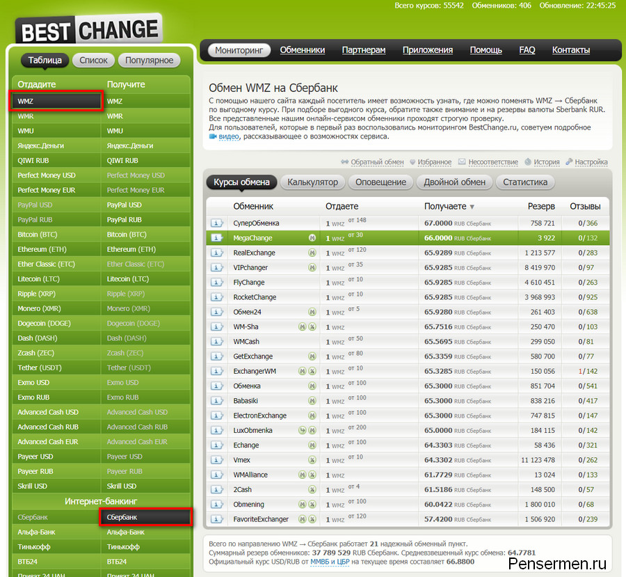 Обмен WM на bestchange.ru